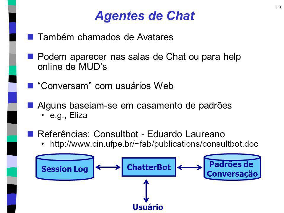 19 Session Log Padrões de Conversação ChatterBot Usuário Agentes de Chat Também chamados de Avatares Podem aparecer nas salas de Chat ou para help onl