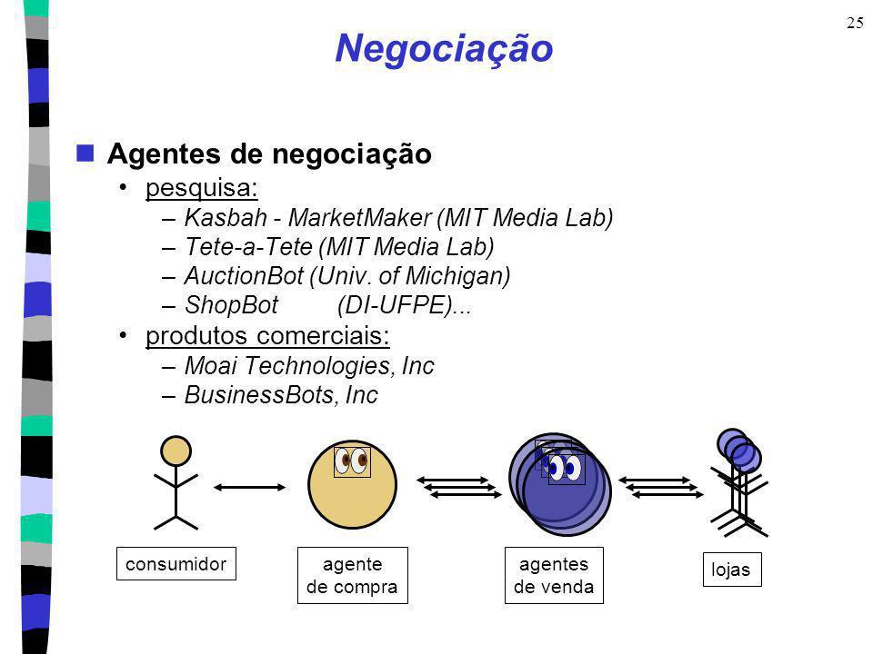 25 Negociação Agentes de negociação pesquisa: –Kasbah - MarketMaker (MIT Media Lab) –Tete-a-Tete (MIT Media Lab) –AuctionBot (Univ. of Michigan) –Shop