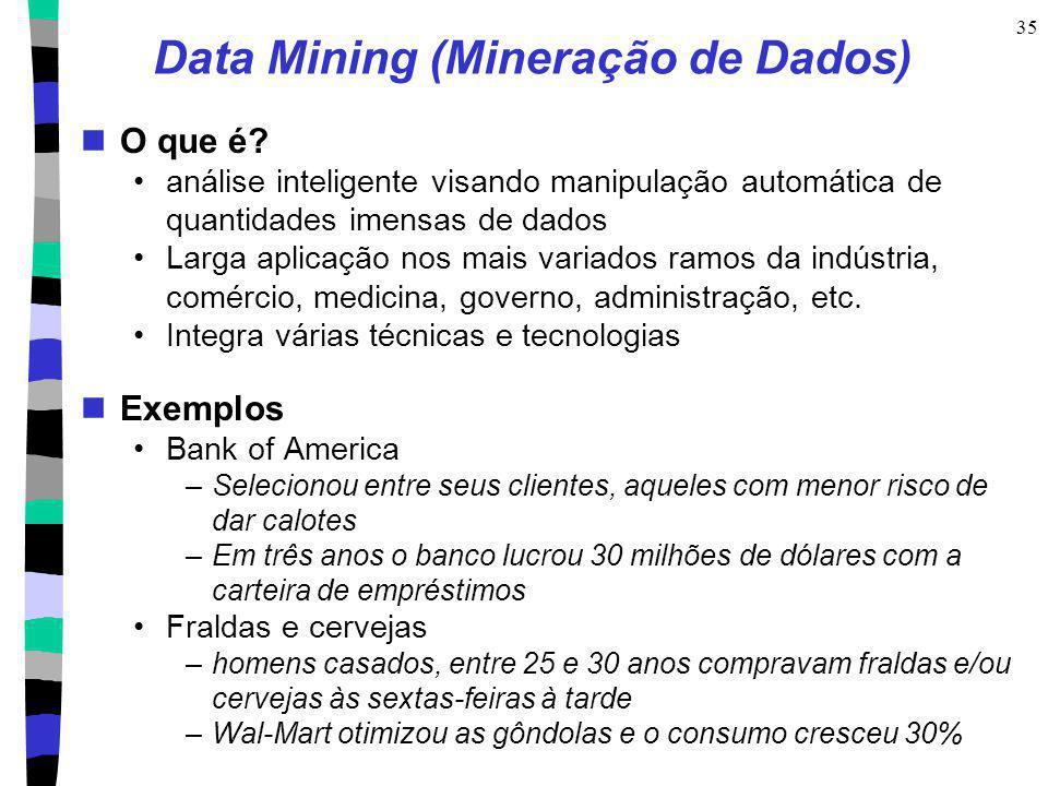 35 Data Mining (Mineração de Dados) O que é? análise inteligente visando manipulação automática de quantidades imensas de dados Larga aplicação nos ma