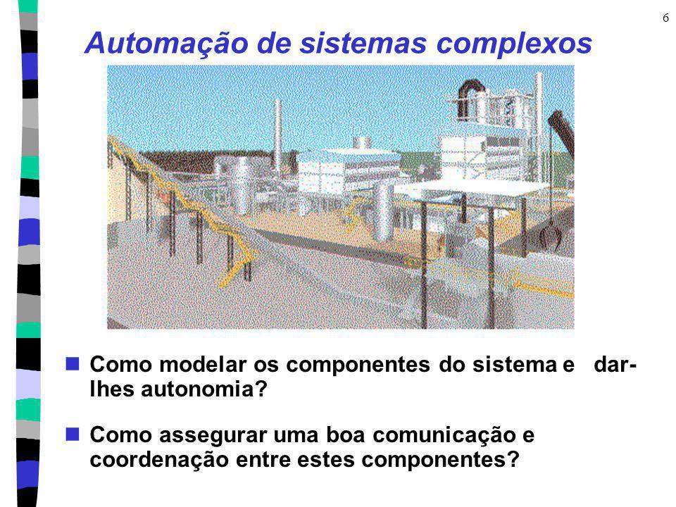 6 Automação de sistemas complexos Como modelar os componentes do sistema e dar- lhes autonomia? Como assegurar uma boa comunicação e coordenação entre