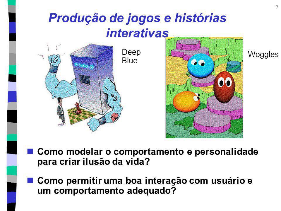 7 Produção de jogos e histórias interativas Como modelar o comportamento e personalidade para criar ilusão da vida? Como permitir uma boa interação co
