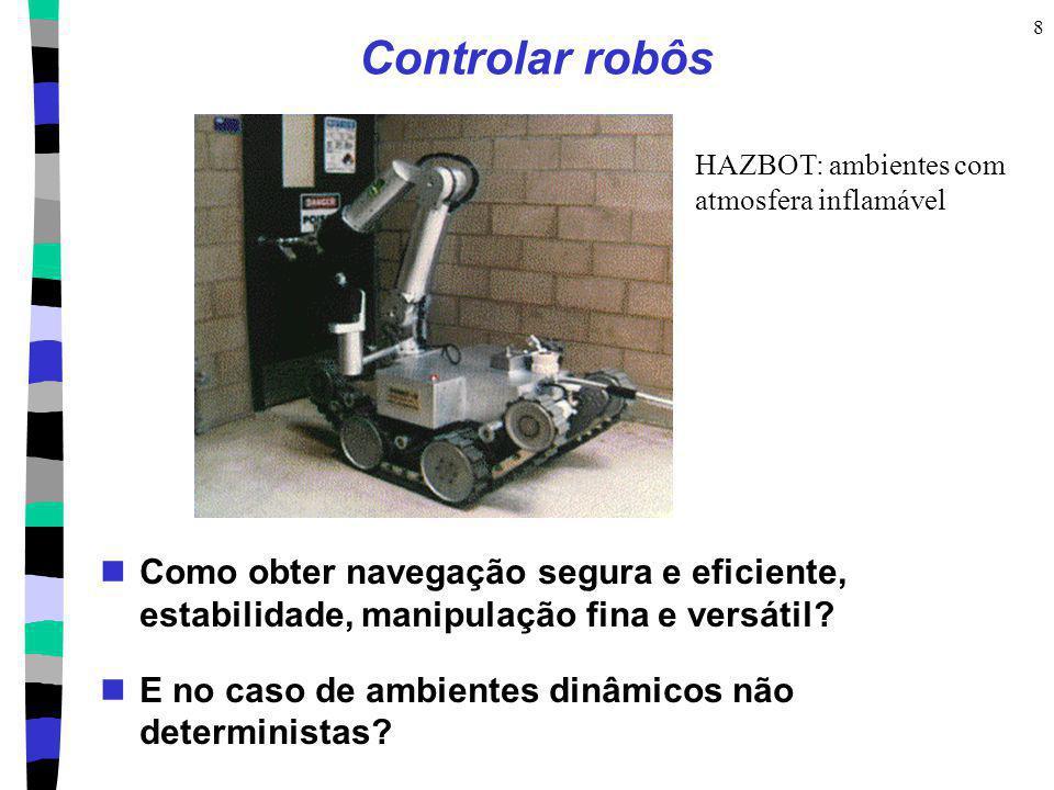 8 Controlar robôs Como obter navegação segura e eficiente, estabilidade, manipulação fina e versátil? E no caso de ambientes dinâmicos não determinist