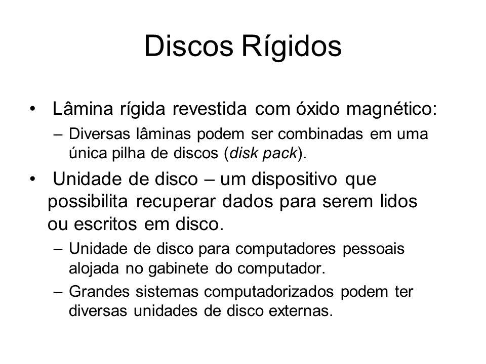 Discos Rígidos Lâmina rígida revestida com óxido magnético: –Diversas lâminas podem ser combinadas em uma única pilha de discos (disk pack). Unidade d