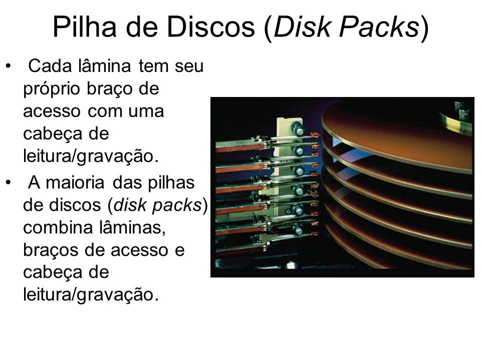 Pilha de Discos (Disk Packs) Cada lâmina tem seu próprio braço de acesso com uma cabeça de leitura/gravação. A maioria das pilhas de discos (disk pack