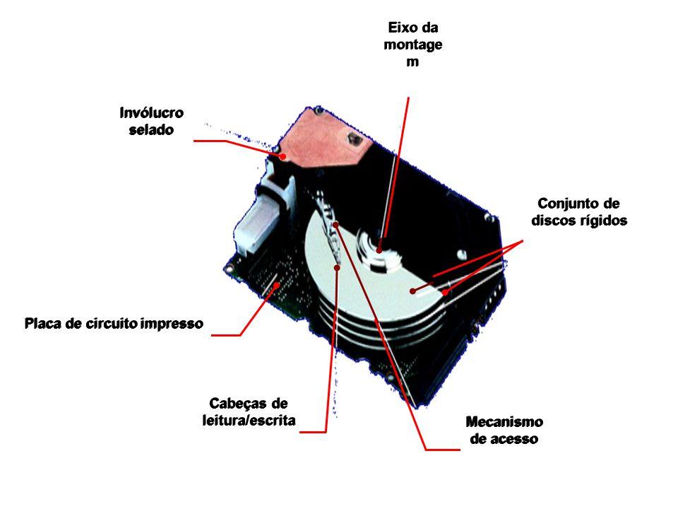 Placa de circuito impresso Cabeças de leitura/escrita Cabeças de leitura/escrita Mecanismo de acesso Mecanismo de acesso Conjunto de discos rígidos Co