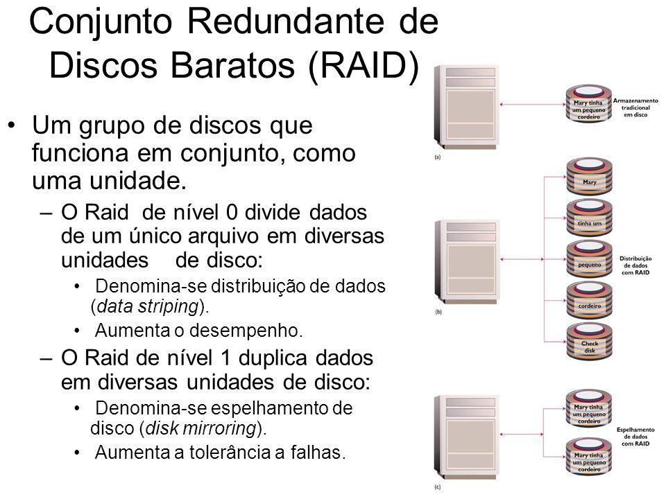 Conjunto Redundante de Discos Baratos (RAID) Um grupo de discos que funciona em conjunto, como uma unidade. –O Raid de nível 0 divide dados de um únic