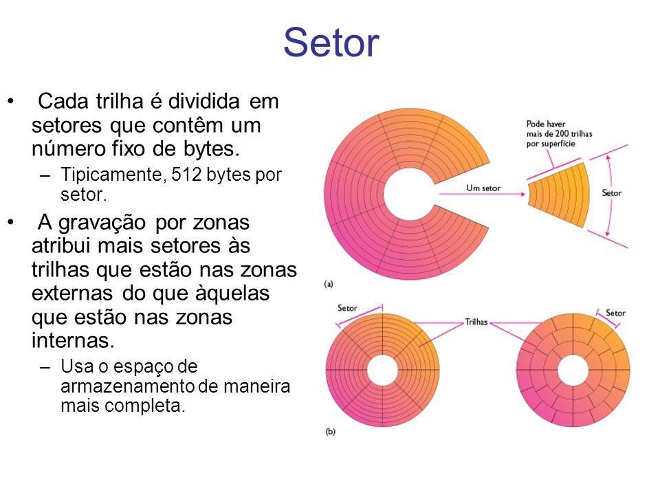 Setor Cada trilha é dividida em setores que contêm um número fixo de bytes. –Tipicamente, 512 bytes por setor. A gravação por zonas atribui mais setor
