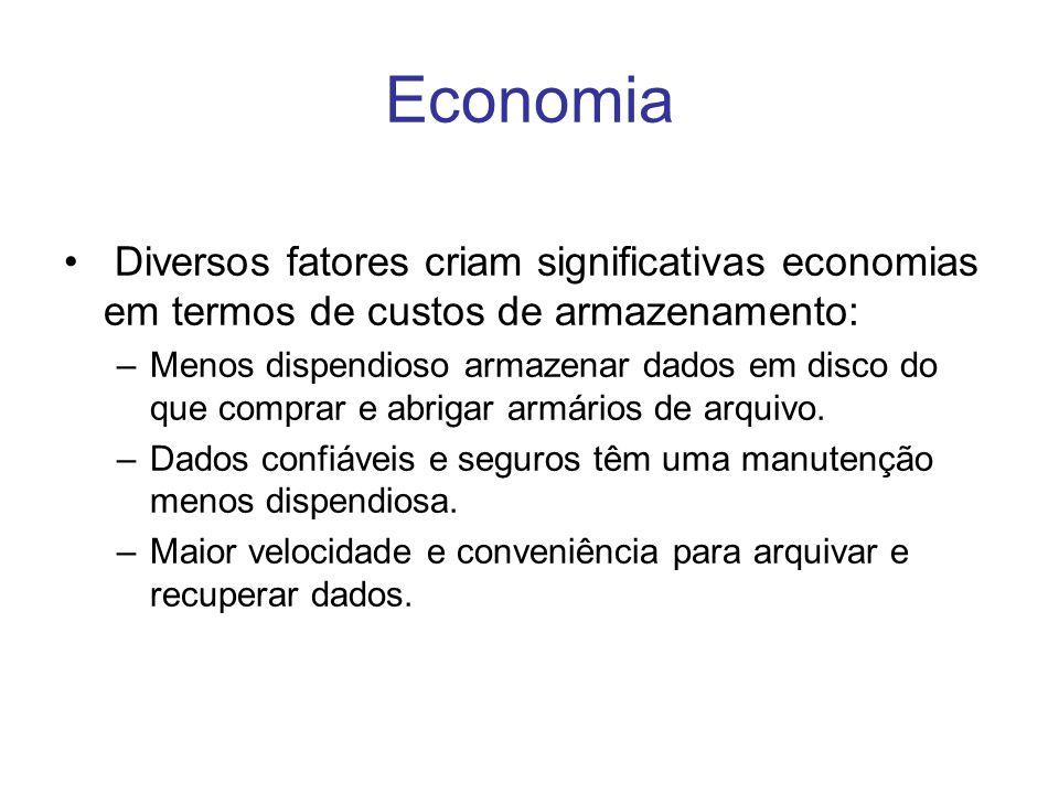 Economia Diversos fatores criam significativas economias em termos de custos de armazenamento: –Menos dispendioso armazenar dados em disco do que comp