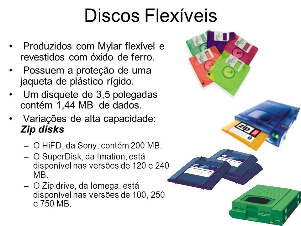 Discos Flexíveis Produzidos com Mylar flexível e revestidos com óxido de ferro. Possuem a proteção de uma jaqueta de plástico rígido. Um disquete de 3