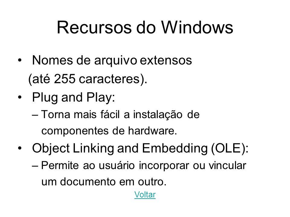 Recursos do Windows Nomes de arquivo extensos (até 255 caracteres). Plug and Play: –Torna mais fácil a instalação de componentes de hardware. Object L