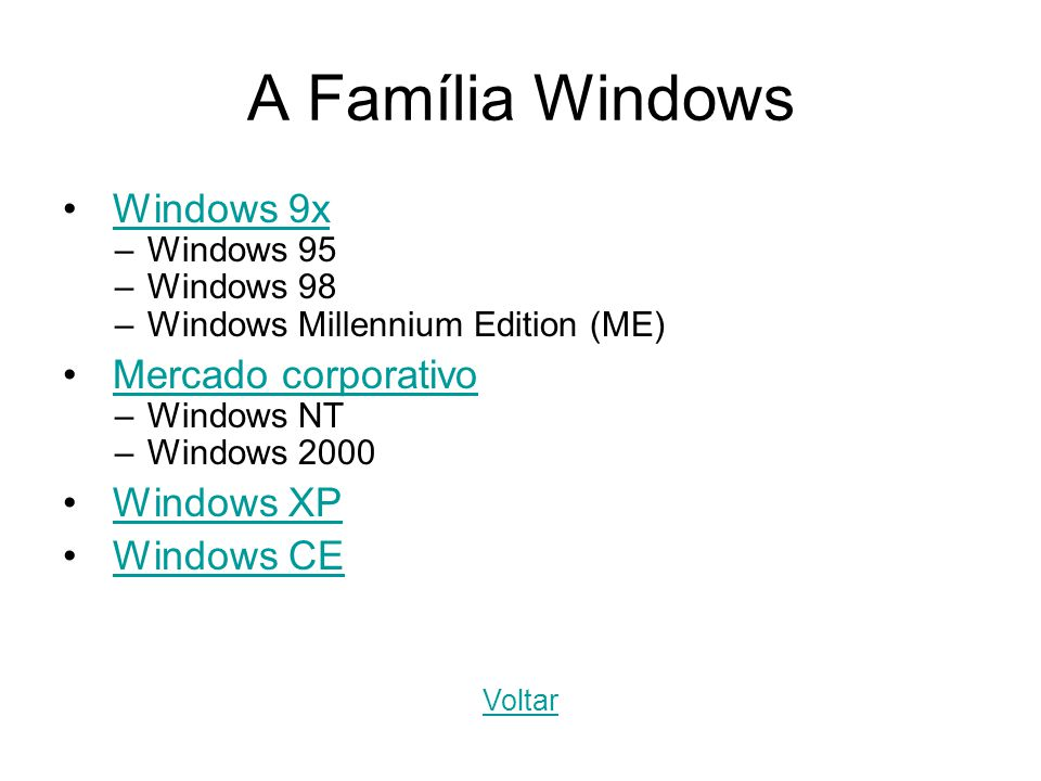 Windows 9x –Windows 95 –Windows 98 –Windows Millennium Edition (ME) Mercado corporativo –Windows NT –Windows 2000 Windows XP Windows CE A Família Wind