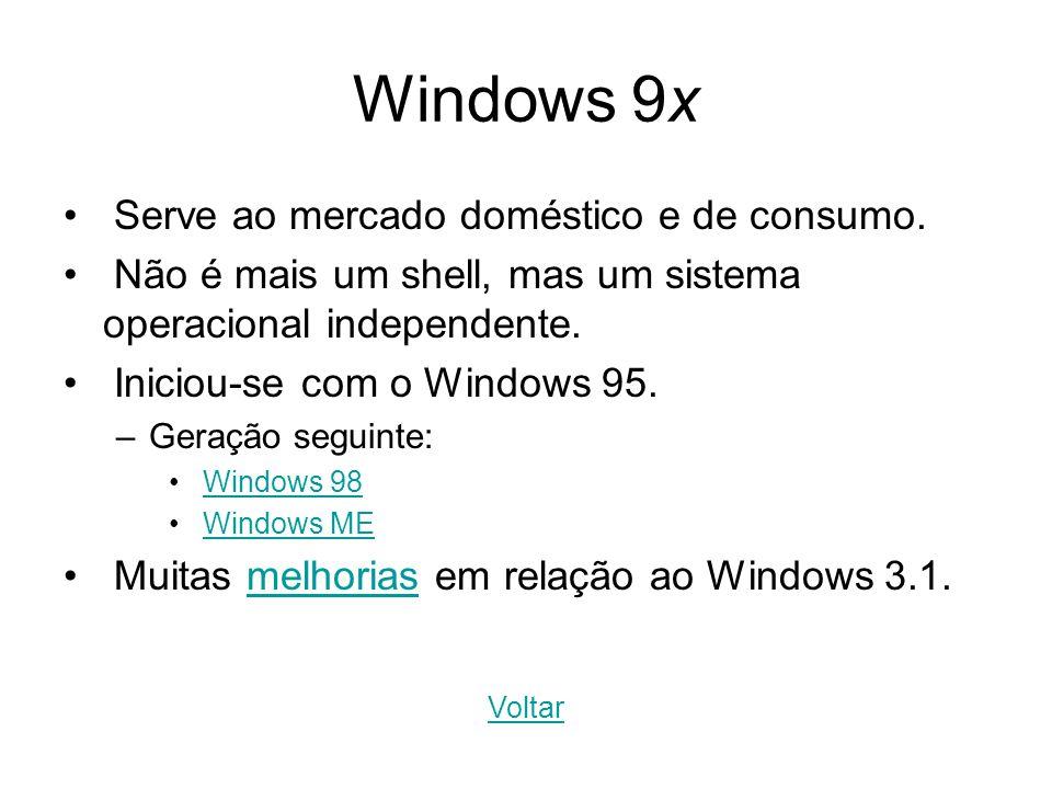 Windows 9x Serve ao mercado doméstico e de consumo. Não é mais um shell, mas um sistema operacional independente. Iniciou-se com o Windows 95. –Geraçã
