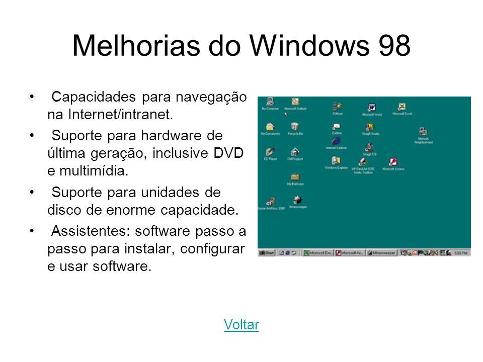 Melhorias do Windows 98 Capacidades para navegação na Internet/intranet. Suporte para hardware de última geração, inclusive DVD e multimídia. Suporte