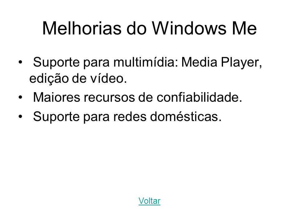 Melhorias do Windows Me Suporte para multimídia: Media Player, edição de vídeo. Maiores recursos de confiabilidade. Suporte para redes domésticas. Vol