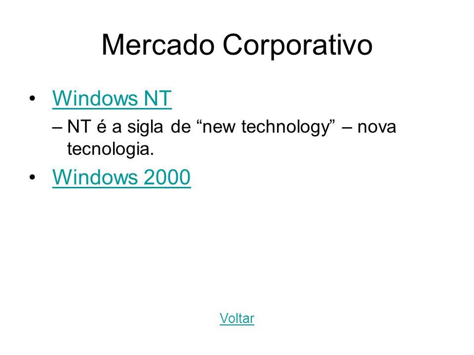 Mercado Corporativo Windows NT –NT é a sigla de new technology – nova tecnologia. Windows 2000 Voltar