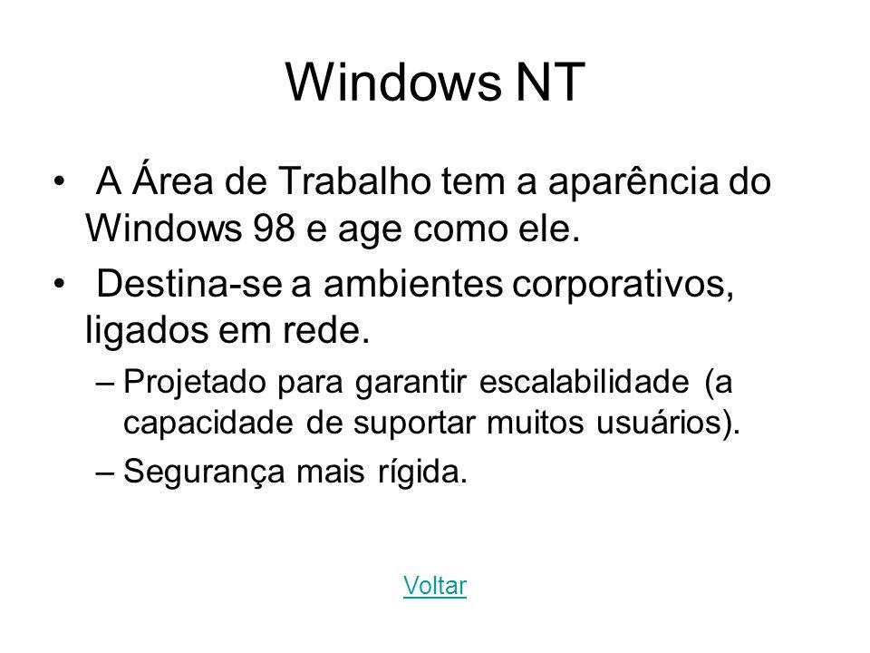 Windows NT A Área de Trabalho tem a aparência do Windows 98 e age como ele. Destina-se a ambientes corporativos, ligados em rede. –Projetado para gara
