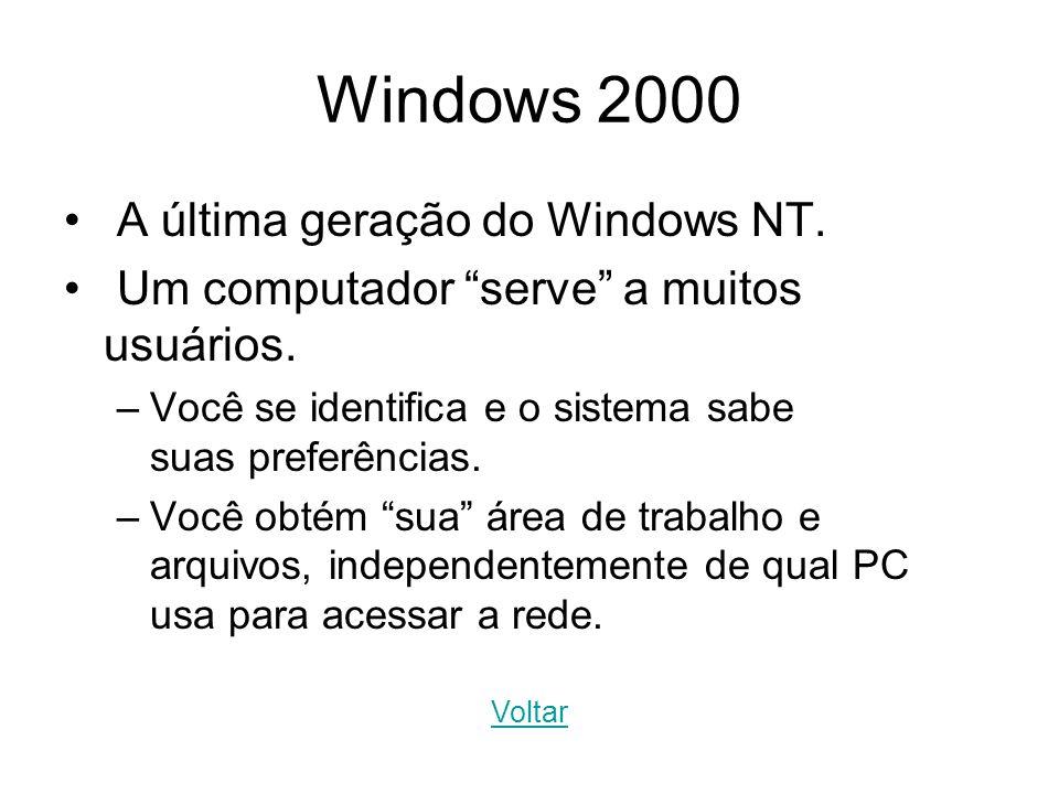 Windows 2000 A última geração do Windows NT. Um computador serve a muitos usuários. –Você se identifica e o sistema sabe suas preferências. –Você obté
