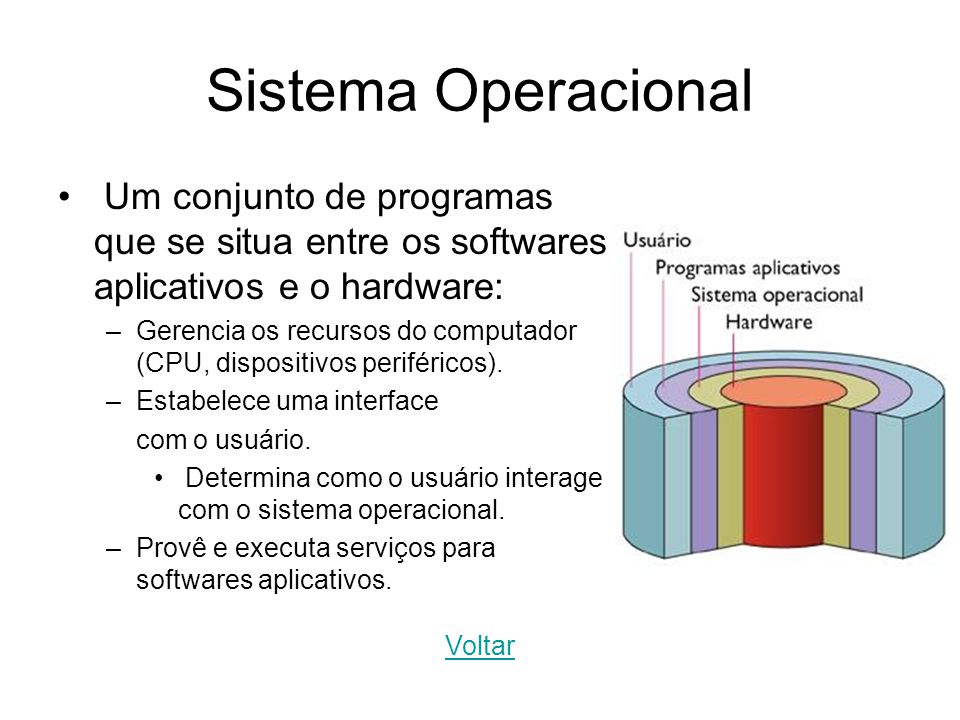 Sistema Operacional Um conjunto de programas que se situa entre os softwares aplicativos e o hardware: –Gerencia os recursos do computador (CPU, dispo