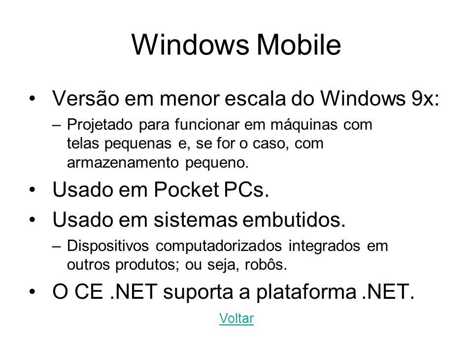 Windows Mobile Versão em menor escala do Windows 9x: –Projetado para funcionar em máquinas com telas pequenas e, se for o caso, com armazenamento pequ