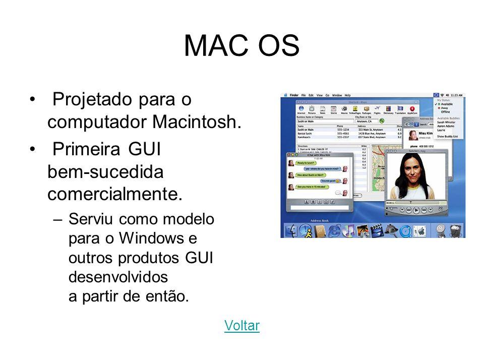 MAC OS Projetado para o computador Macintosh. Primeira GUI bem-sucedida comercialmente. –Serviu como modelo para o Windows e outros produtos GUI desen