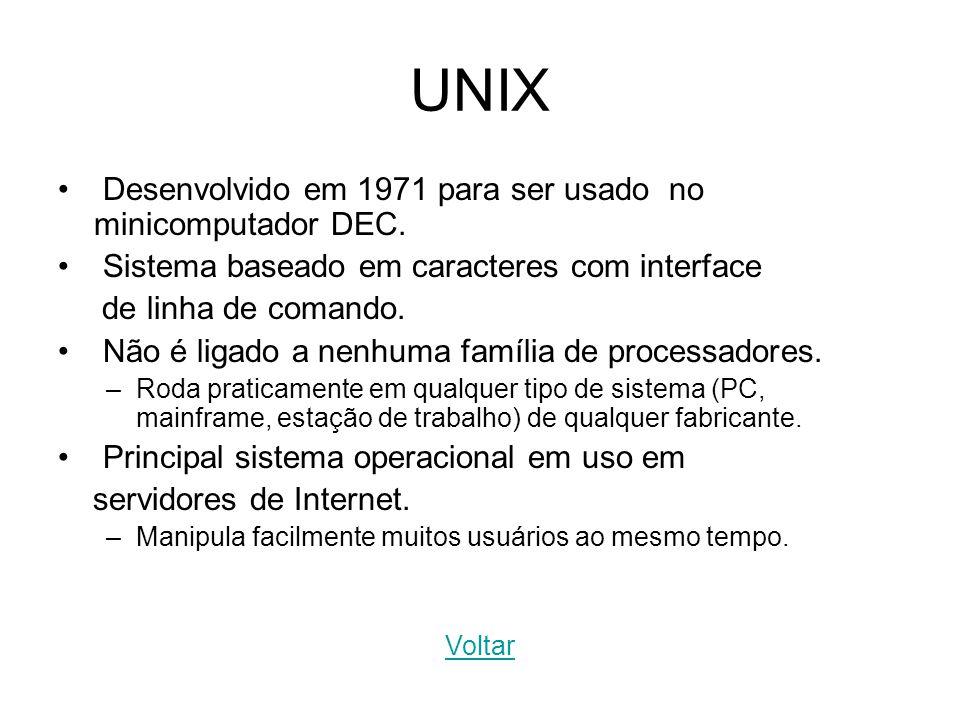 UNIX Desenvolvido em 1971 para ser usado no minicomputador DEC. Sistema baseado em caracteres com interface de linha de comando. Não é ligado a nenhum