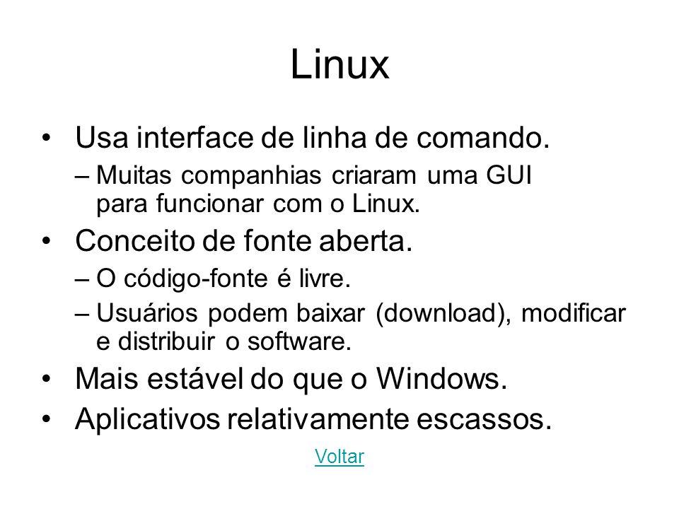 Linux Usa interface de linha de comando. –Muitas companhias criaram uma GUI para funcionar com o Linux. Conceito de fonte aberta. –O código-fonte é li