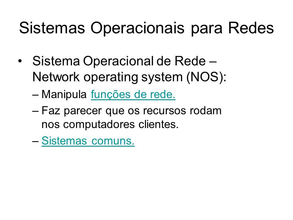 Sistemas Operacionais para Redes Sistema Operacional de Rede – Network operating system (NOS): –Manipula funções de rede.funções de rede. –Faz parecer