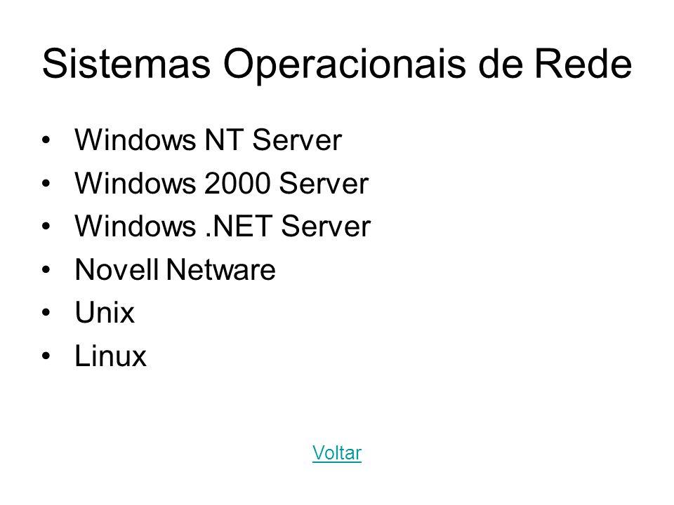 Sistemas Operacionais de Rede Windows NT Server Windows 2000 Server Windows.NET Server Novell Netware Unix Linux Voltar