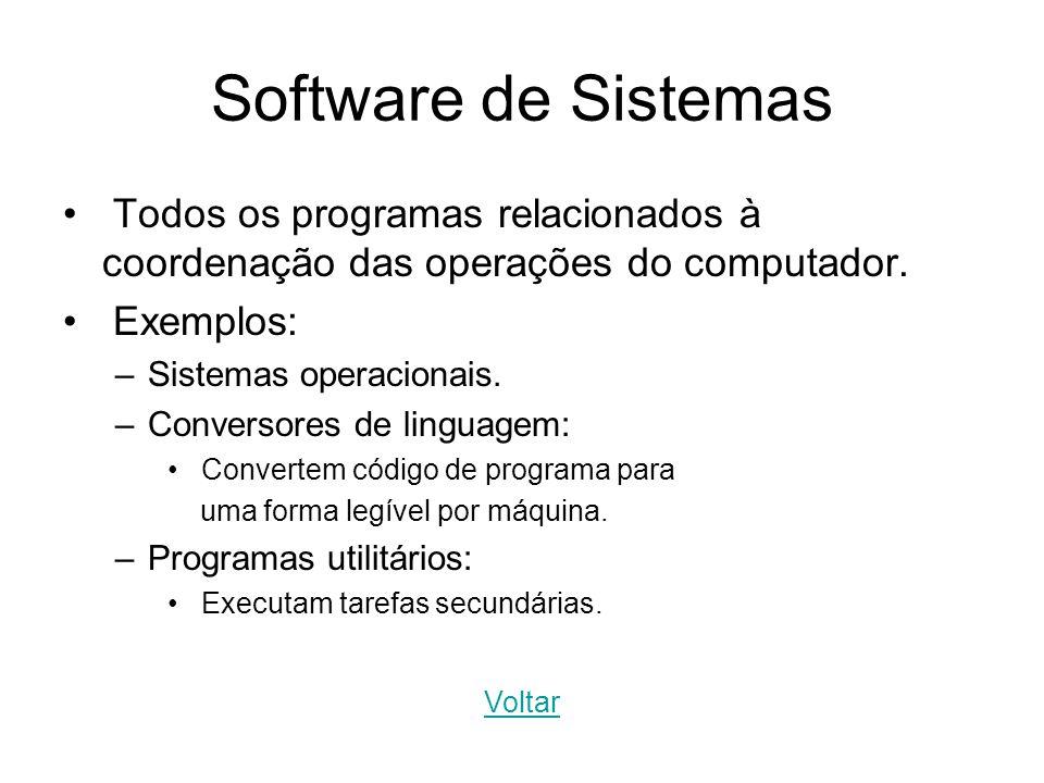 Software de Sistemas Todos os programas relacionados à coordenação das operações do computador. Exemplos: –Sistemas operacionais. –Conversores de ling