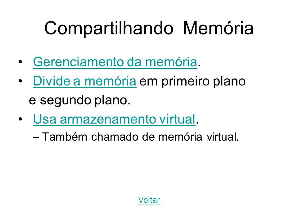 Compartilhando Memória Gerenciamento da memória.Gerenciamento da memória Divide a memória em primeiro planoDivide a memória e segundo plano. Usa armaz