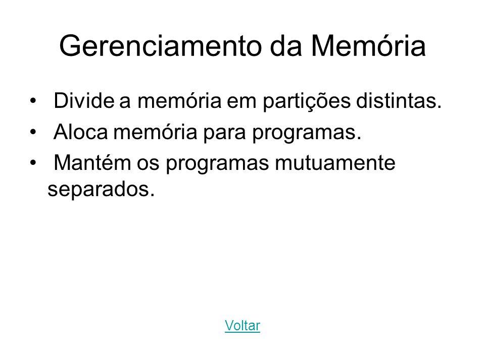 Gerenciamento da Memória Divide a memória em partições distintas. Aloca memória para programas. Mantém os programas mutuamente separados. Voltar