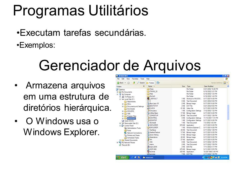 Gerenciador de Arquivos Armazena arquivos em uma estrutura de diretórios hierárquica. O Windows usa o Windows Explorer. Programas Utilitários Executam