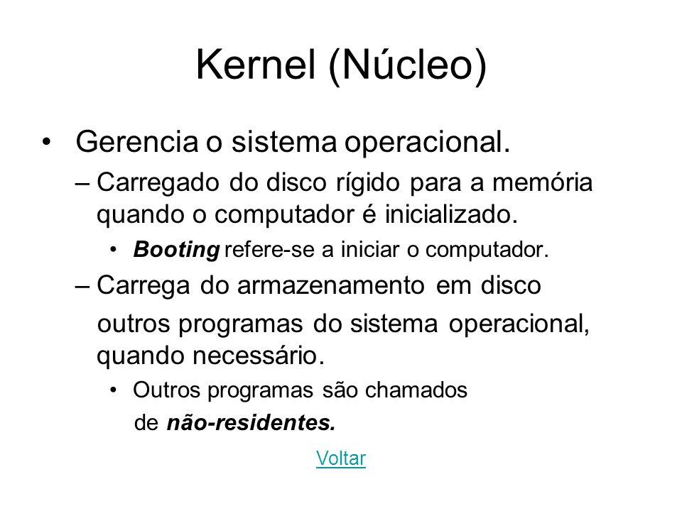 Kernel (Núcleo) Gerencia o sistema operacional. –Carregado do disco rígido para a memória quando o computador é inicializado. Booting refere-se a inic