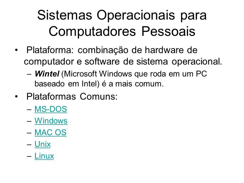 Sistemas Operacionais para Computadores Pessoais Plataforma: combinação de hardware de computador e software de sistema operacional. –Wintel (Microsof