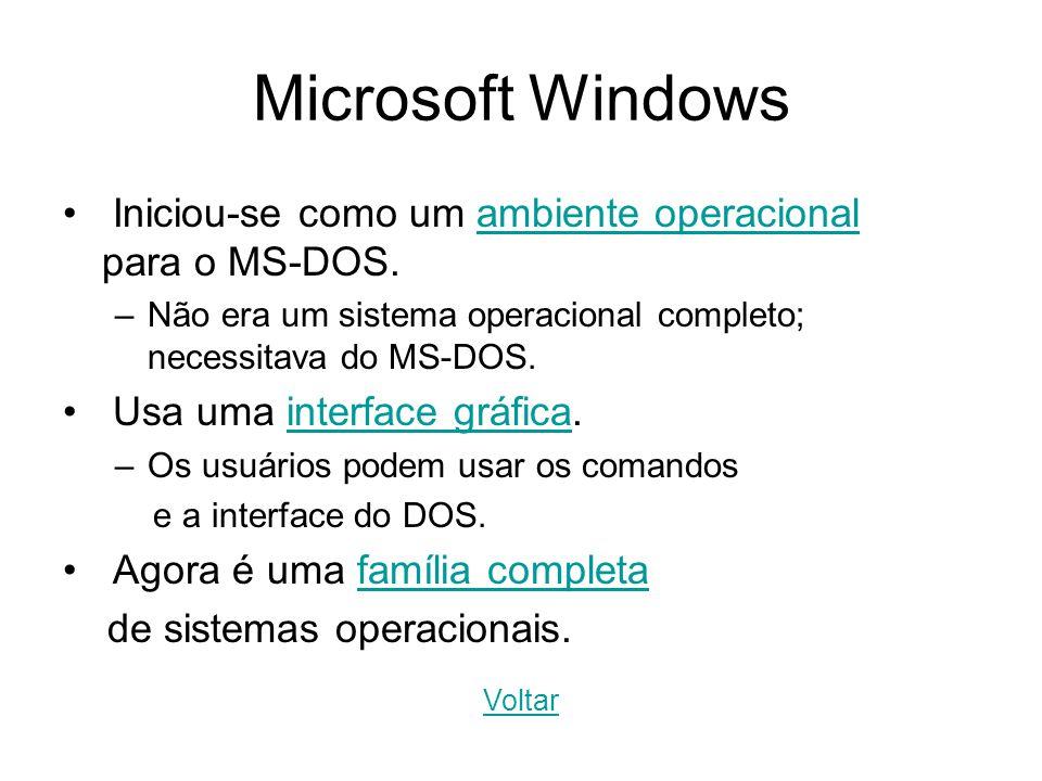 Microsoft Windows Iniciou-se como um ambiente operacional para o MS-DOS.ambiente operacional –Não era um sistema operacional completo; necessitava do
