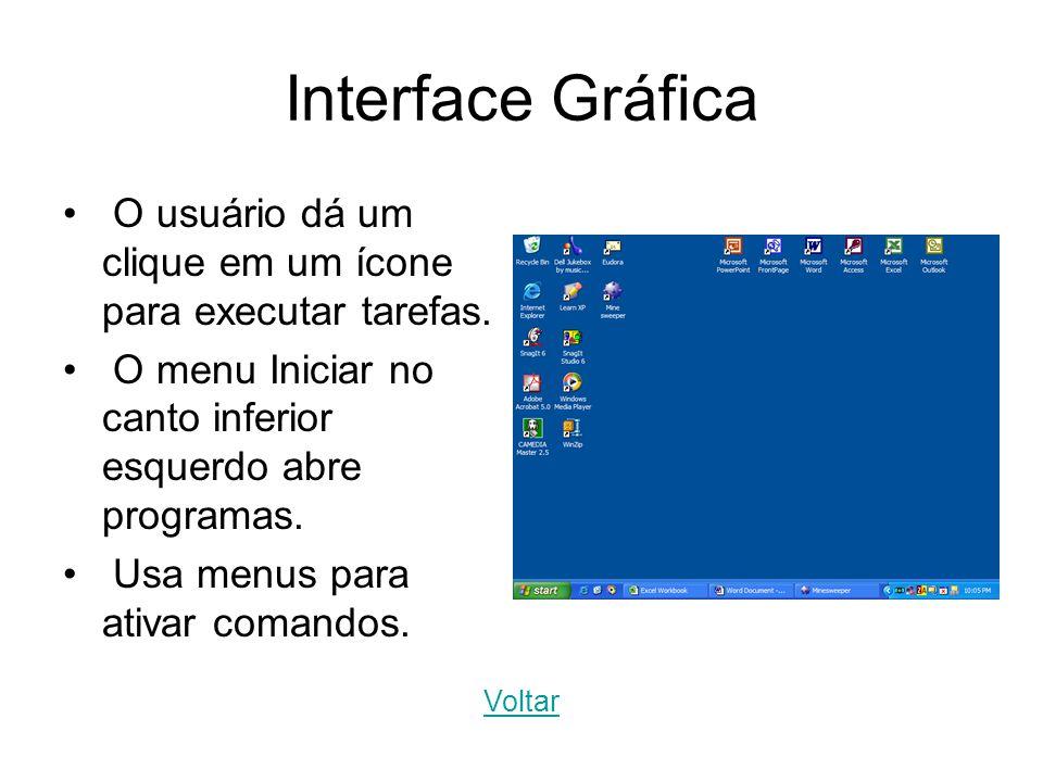 Interface Gráfica O usuário dá um clique em um ícone para executar tarefas. O menu Iniciar no canto inferior esquerdo abre programas. Usa menus para a