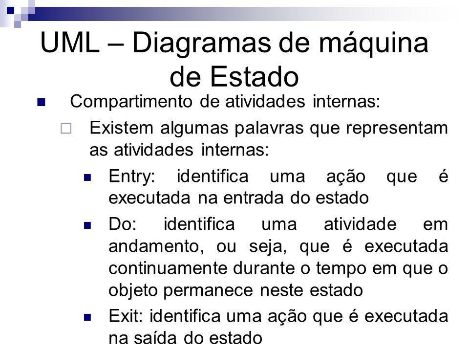 UML – Diagramas de máquina de Estado Compartimento de atividades internas: Existem algumas palavras que representam as atividades internas: Entry: ide