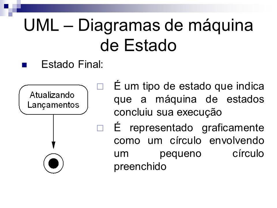 UML – Diagramas de máquina de Estado Estado Final: É um tipo de estado que indica que a máquina de estados concluiu sua execução É representado grafic