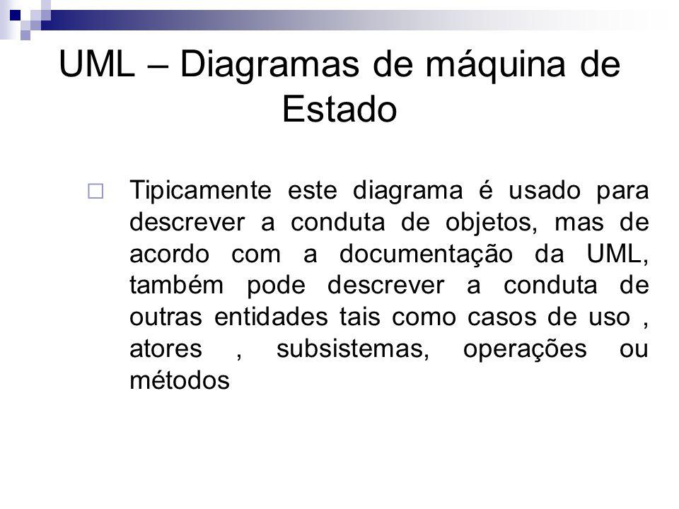 UML – Diagramas de máquina de Estado Tipicamente este diagrama é usado para descrever a conduta de objetos, mas de acordo com a documentação da UML, t