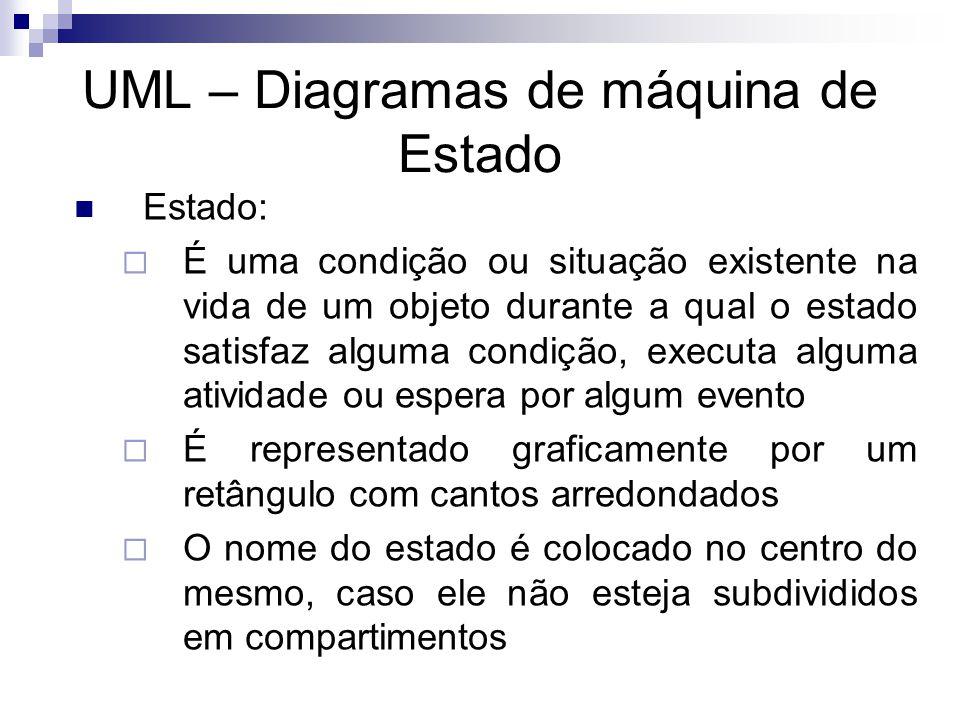 UML – Diagramas de máquina de Estado Estado: É uma condição ou situação existente na vida de um objeto durante a qual o estado satisfaz alguma condiçã