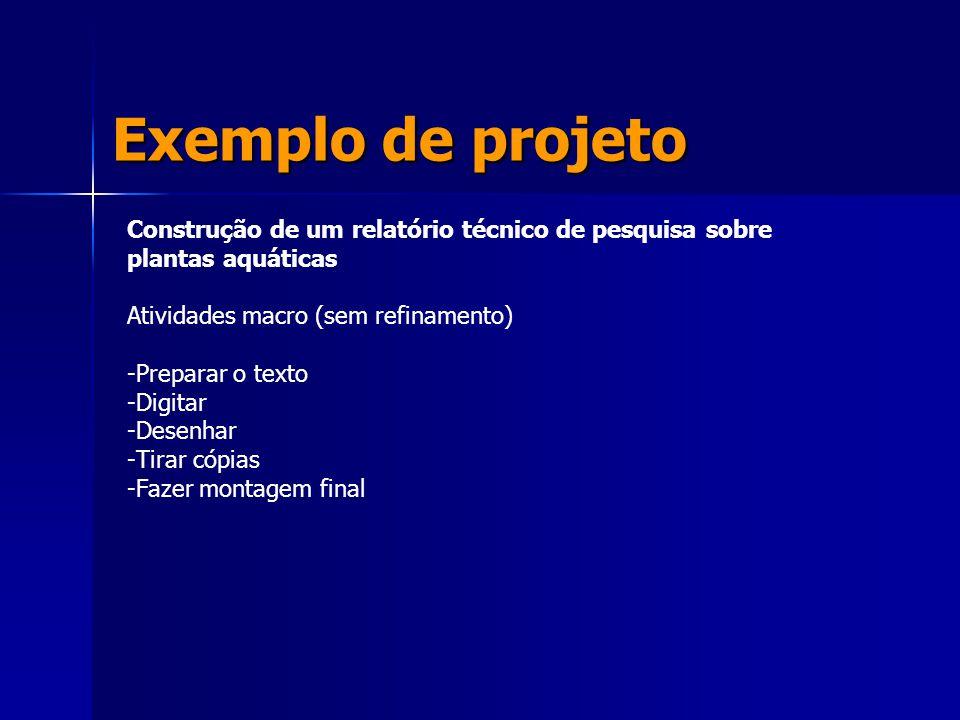 Exemplo de projeto Construção de um relatório técnico de pesquisa sobre plantas aquáticas Atividades macro (sem refinamento) -Preparar o texto -Digita