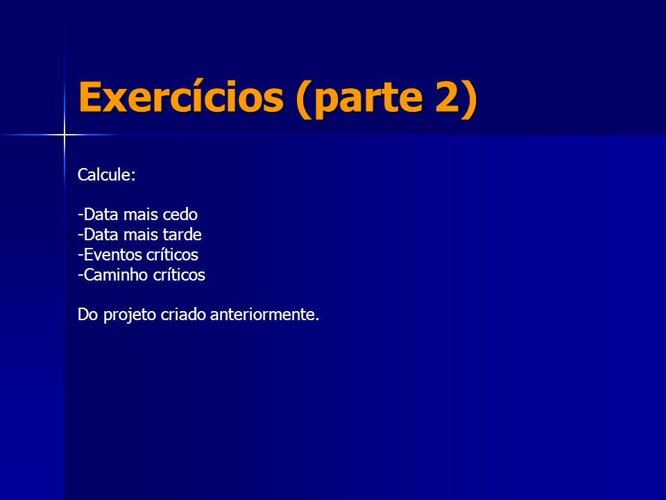 Exercícios (parte 2) Calcule: -Data mais cedo -Data mais tarde -Eventos críticos -Caminho críticos Do projeto criado anteriormente.