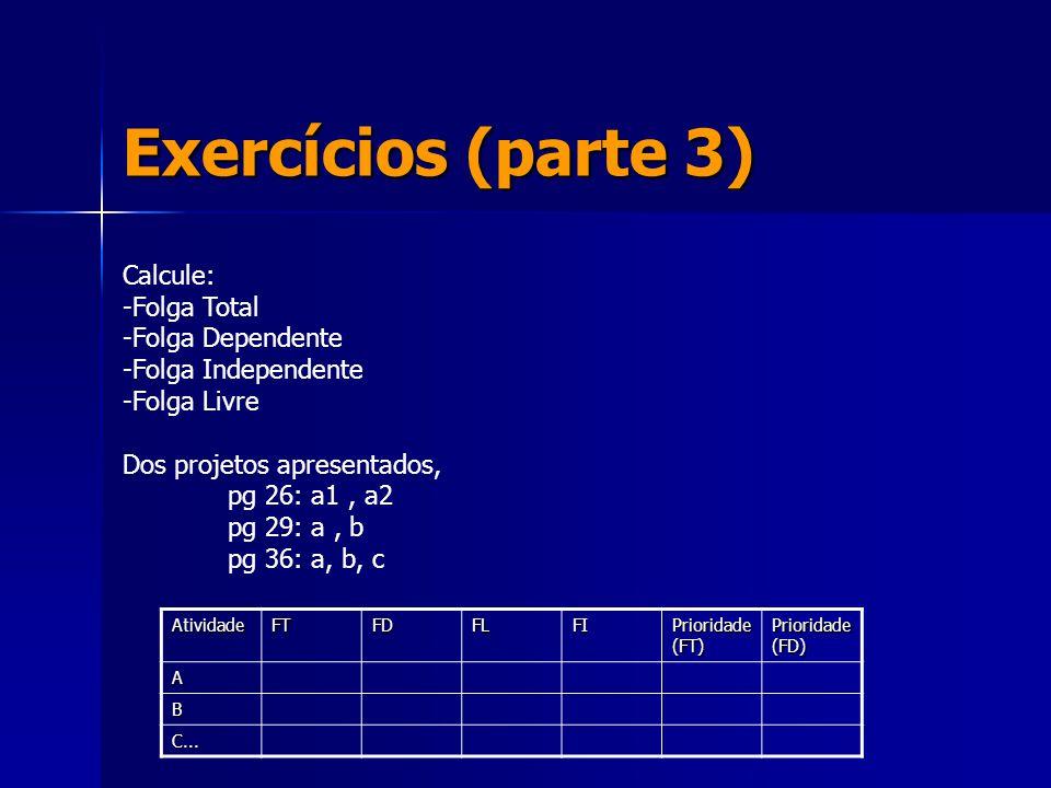 Exercícios (parte 3) Calcule: -Folga Total -Folga Dependente -Folga Independente -Folga Livre Dos projetos apresentados, pg 26: a1, a2 pg 29: a, b pg