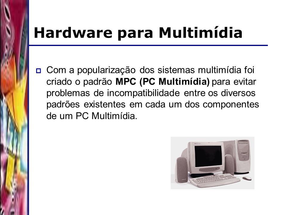 DSC/CCT/UFCG Hardware para Multimídia Com a popularização dos sistemas multimídia foi criado o padrão MPC (PC Multimídia) para evitar problemas de incompatibilidade entre os diversos padrões existentes em cada um dos componentes de um PC Multimídia.