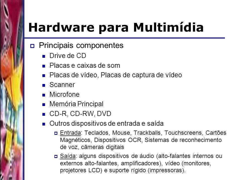 DSC/CCT/UFCG Hardware para Multimídia Principais componentes Drive de CD Placas e caixas de som Placas de vídeo, Placas de captura de vídeo Scanner Microfone Memória Principal CD-R, CD-RW, DVD Outros dispositivos de entrada e saída Entrada: Teclados, Mouse, Trackballs, Touchscreens, Cartões Magnéticos, Dispositivos OCR, Sistemas de reconhecimento de voz, câmeras digitais Saída: alguns dispositivos de áudio (alto-falantes internos ou externos alto-falantes, amplificadores), vídeo (monitores, projetores LCD) e suporte rígido (impressoras).