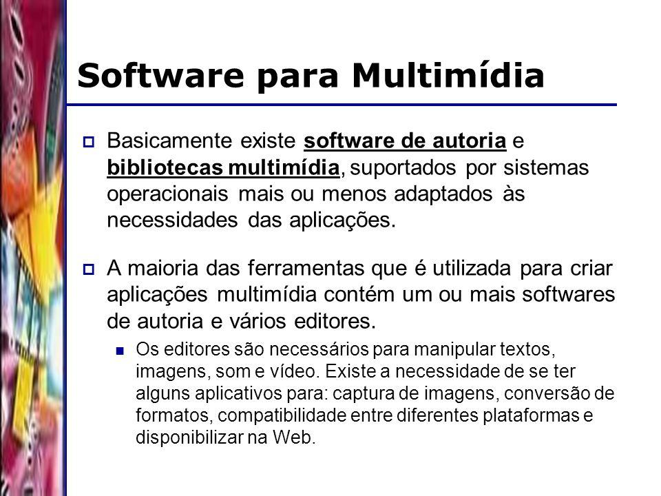DSC/CCT/UFCG Software para Multimídia Basicamente existe software de autoria e bibliotecas multimídia, suportados por sistemas operacionais mais ou menos adaptados às necessidades das aplicações.