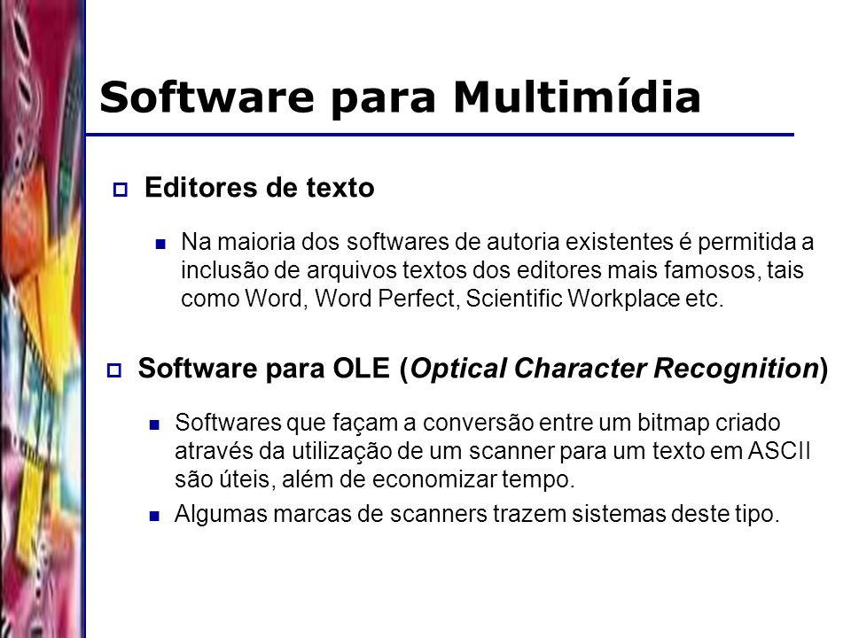 DSC/CCT/UFCG Software para Multimídia Editores de texto Na maioria dos softwares de autoria existentes é permitida a inclusão de arquivos textos dos editores mais famosos, tais como Word, Word Perfect, Scientific Workplace etc.