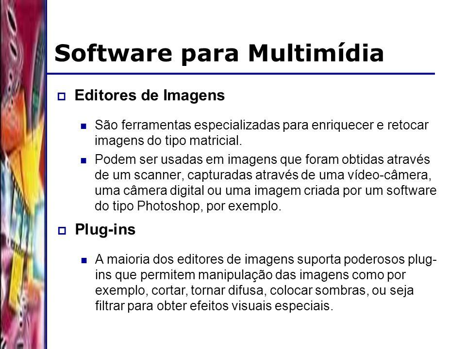 DSC/CCT/UFCG Software para Multimídia Editores de Imagens São ferramentas especializadas para enriquecer e retocar imagens do tipo matricial. Podem se