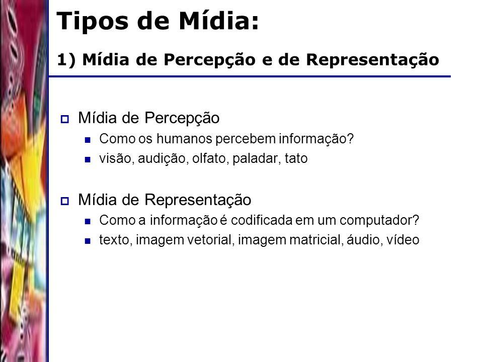 DSC/CCT/UFCG 1) Mídia de Percepção e de Representação Mídia de Percepção Como os humanos percebem informação? visão, audição, olfato, paladar, tato Mí