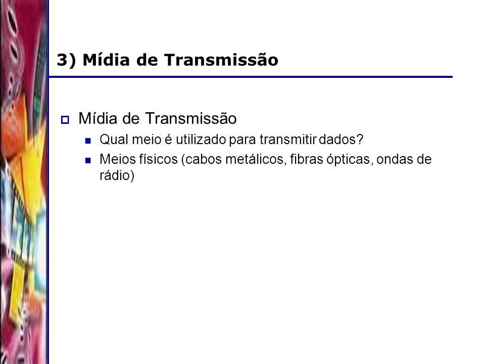 DSC/CCT/UFCG 3) Mídia de Transmissão Mídia de Transmissão Qual meio é utilizado para transmitir dados? Meios físicos (cabos metálicos, fibras ópticas,